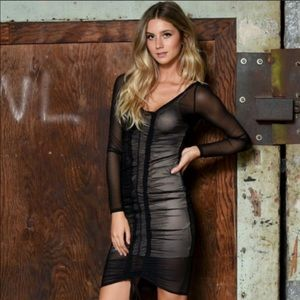 Dresses & Skirts - Bodycon Black Dress Mesh with Nude Slip
